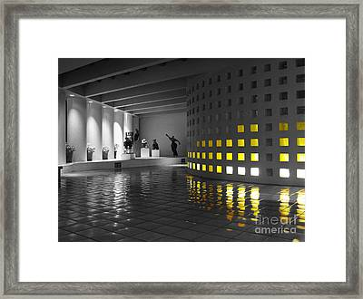 Framed Print featuring the photograph Glowing Wall Color Spash Black And White by Shawn O'Brien
