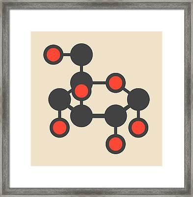 Glucose Sugar Molecule Framed Print by Molekuul