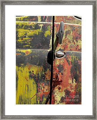 Gm Truck Door Framed Print by Cindy McIntyre