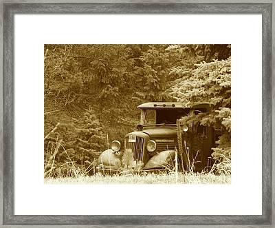 Gm Truck  Sepia Framed Print