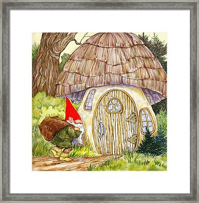 Gnome And Toadstool Home Framed Print