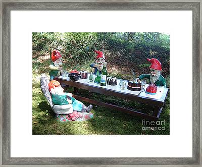 Gnome Cooking Framed Print