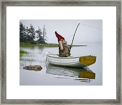 Gnome Fisherman In A White Maine Boat On A Foggy Morning Framed Print by Randall Nyhof