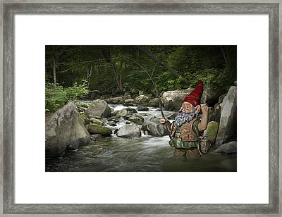 Gnome Fishing On A Wilderness Trout Stream Framed Print by Randall Nyhof