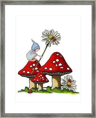 Gnome With Toadstools And Daisy Framed Print