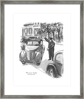 Go Away. You're Rattling Me Framed Print by Helen E. Hokinson