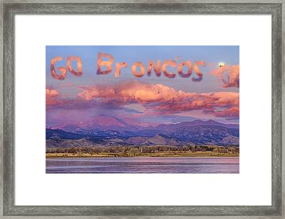 Go Broncos Colorado Front Range Longs Moon Sunrise Framed Print by James BO  Insogna
