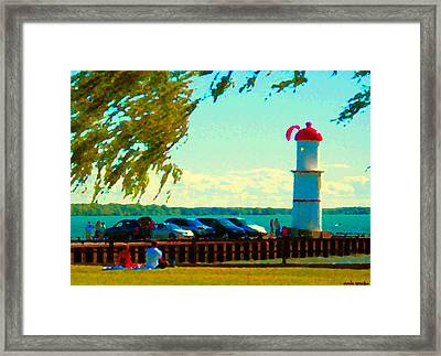 Go Fly A Kite Off A Short Pier Lachine Lighthouse Summer Scene Carole Spandau Montreal Art  Framed Print by Carole Spandau