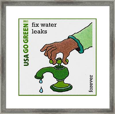 Go Green-fix Water Leaks Framed Print by Lanjee Chee