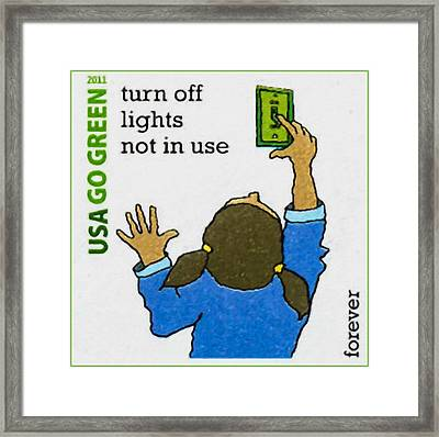 Go Green- Turn Off Lights Not In Use Framed Print by Lanjee Chee