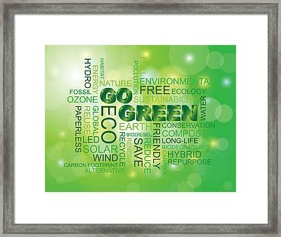 Go Green Word Cloud Green Background Framed Print
