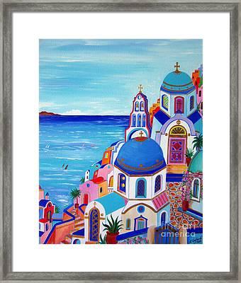 go to Santorini now Framed Print