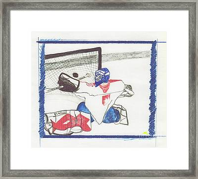 Framed Print featuring the drawing Goalie By Jrr by First Star Art