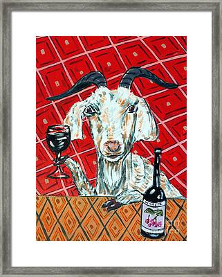 Goat At The Wine Tasting Framed Print by Jay  Schmetz