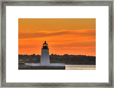Goat Island Light Framed Print by Andrew Pacheco
