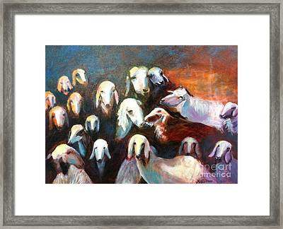 Framed Print featuring the painting Goat Reunion by Marcia Dutton