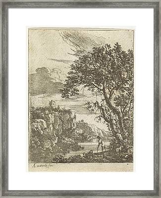 Goatherd On The Banks Of A River, Print Maker Anthonie Framed Print by Anthonie Waterloo