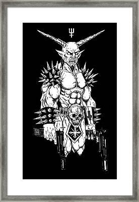 Goatlord Hit List Black Framed Print by Alaric Barca