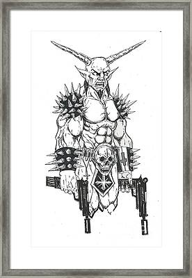 Goatlord Hit List White Framed Print by Alaric Barca