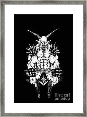 Goatlord Vengeance Black Framed Print by Alaric Barca