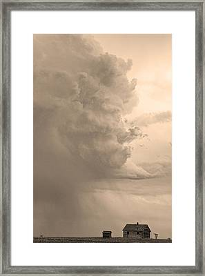 Gobbled Up By A Storm  Sepia Framed Print