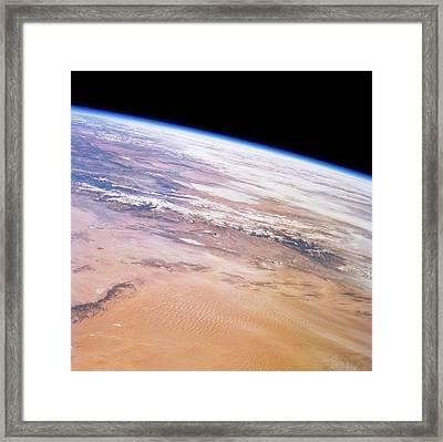 Gobi Desert And Qilian Mountains Framed Print by Nasa