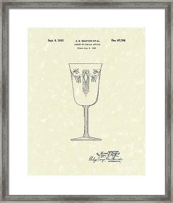 Goblet 1932 Patent Art Framed Print