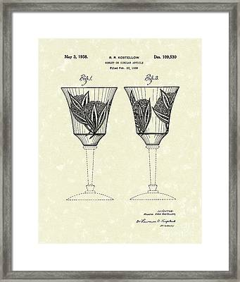 Goblet 1938 Patent Art Framed Print by Prior Art Design