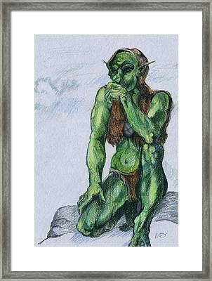 Framed Print featuring the drawing Goblin by Michele Engling