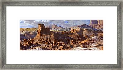 Goblin Valley State Park Panoramic Framed Print by Mike McGlothlen