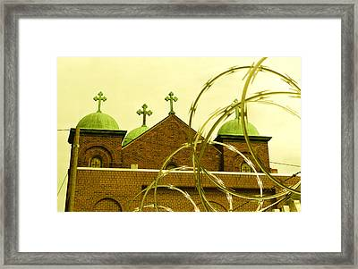 God And Razor Wire Framed Print by James Rasmusson