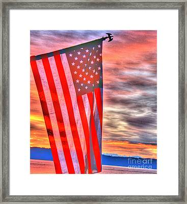 God Bless America Over Puget Sound Framed Print