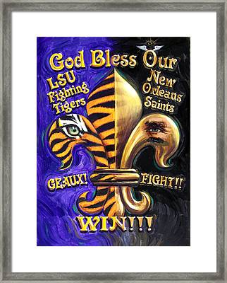God Bless Our Tigers And Saints Framed Print by Mike Roberts