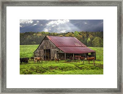 God Bless The Farmer Framed Print by Debra and Dave Vanderlaan