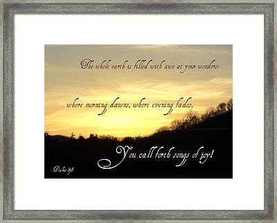 God Calls Forth Songs Of Joy Framed Print by Paula Tohline Calhoun