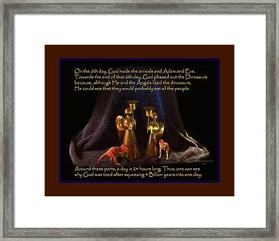 God Created Dinosaurs In One Day Framed Print