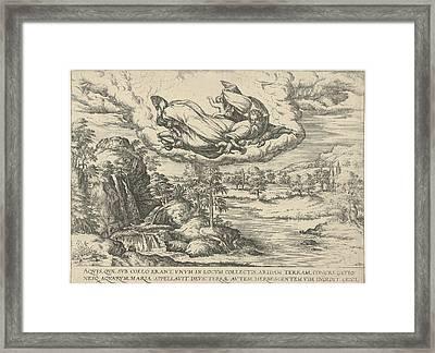 God Creates Water And Land, Attributed To Symon Novelanus Framed Print by Symon Novelanus