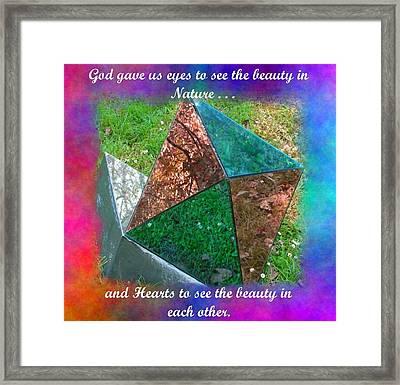 God Gave Us Hearts Framed Print by Natalie Ortiz