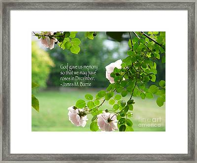 God Gave Us Memory Framed Print by Avis  Noelle