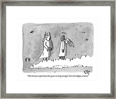 God Is Seen Standing On A Cloud Talking To An Framed Print