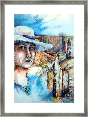 Framed Print featuring the drawing God by Linda Shackelford