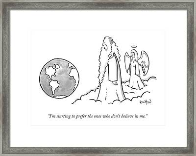 God Looks At Earth Framed Print