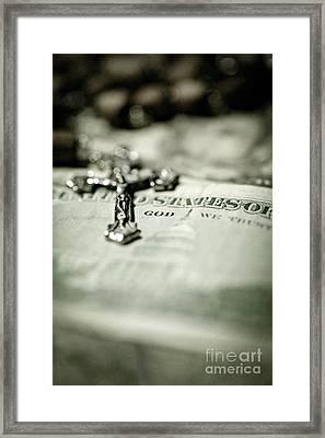 God Over Money Framed Print by Trish Mistric