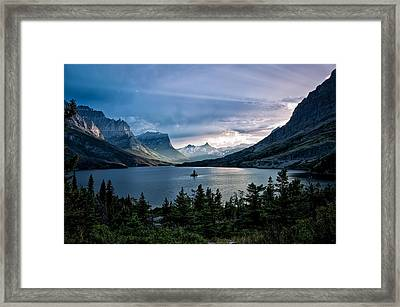 God Rays Shine Down On St Mary Lake At Dusk Framed Print by Mark Serfass