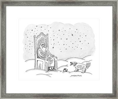 God Sits In His Throne And Plays Fetch Framed Print