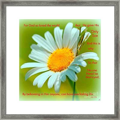 God So Loved Us Framed Print by Sandra Clark