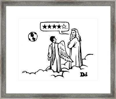 God To An Angel On A Cloud Overlooking Earth Framed Print