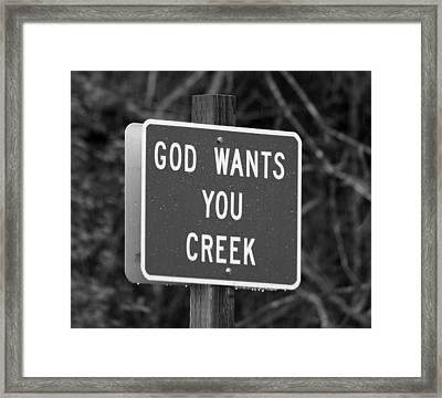 Framed Print featuring the photograph God Wants You Creek by Marie Neder