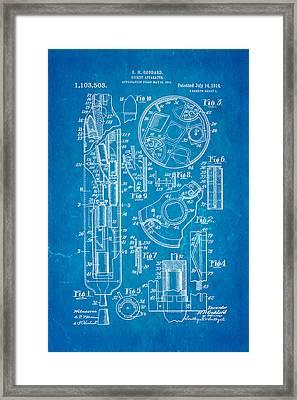 Goddard Rocket Patent Art 1914 Blueprint Framed Print