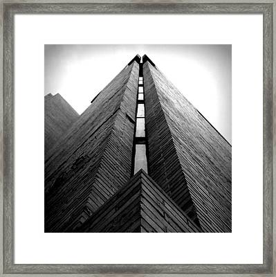 Goddard Stair Tower - Black And White Framed Print